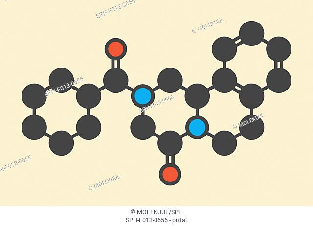 Praziquantel anthelmintic drug molecule. Used to treat? tapeworm infections. Stylized skeletal formula (chemical structure)