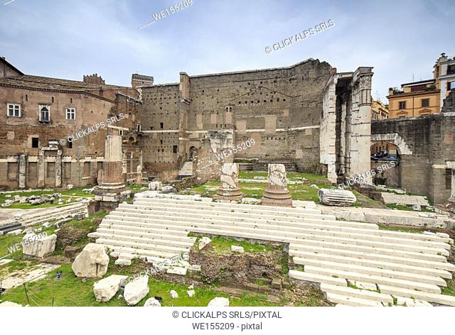 The dusk lights on the Trajan Forum and ruins of the ancient Roman Empire Rome Lazio Italy Europe