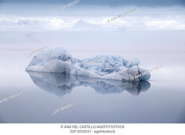 Jokulsarlon glacier lagoon lake in winter., Iceland