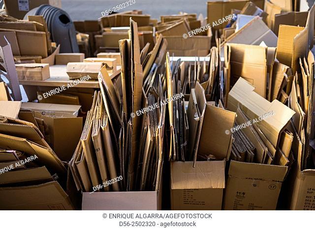 cardboard boxes in the street, Antwerp, Belgium
