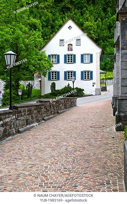 Old white building, Vaduz, Liechtenstein, Principality of Liechtenstein, Central Europe