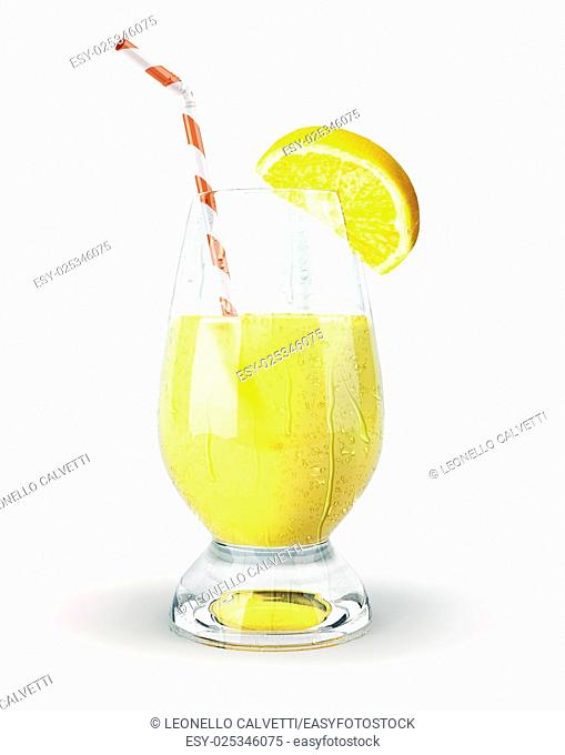 Lemon juice in a glass with straw and clove. With condensation droplets on white background. Clipping path included