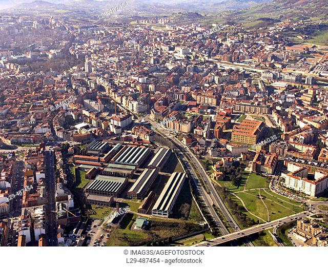 West access to Oviedo by A-66 route and industrial park of the weapon factory. Oviedo. Asturias. Spain