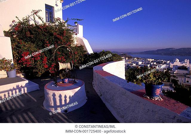 Plaka, view of town from balcony, Milos, Cyclades, Greece