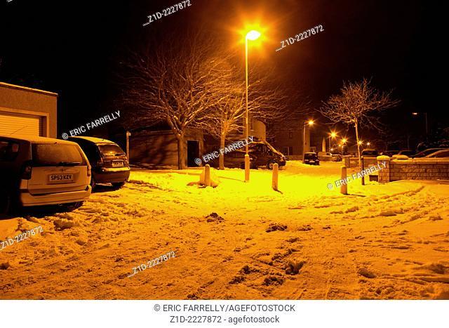 Midnight snow. Scotland Uk