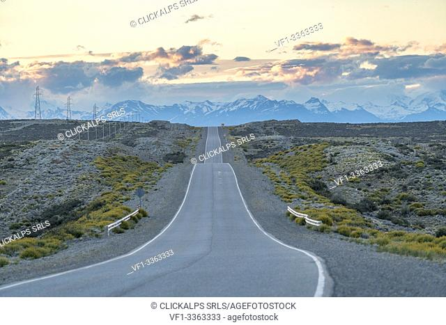 The road that leads to El Calafate at sunset. Santa Cruz province, Argentina