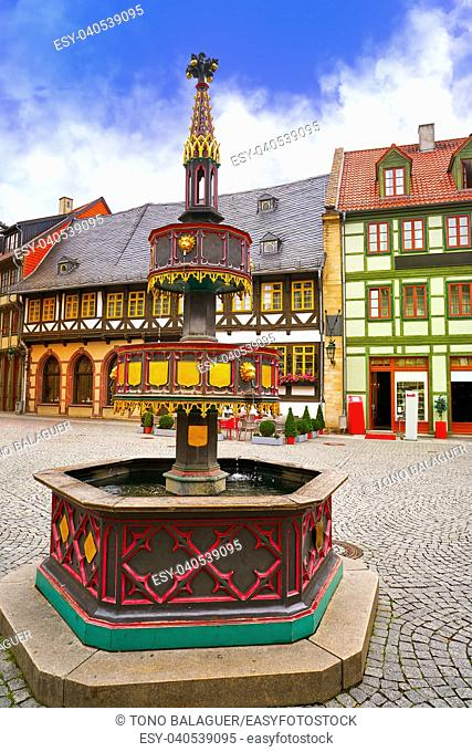 Wernigerode fountain in Harz Germany at Saxony Anhalt