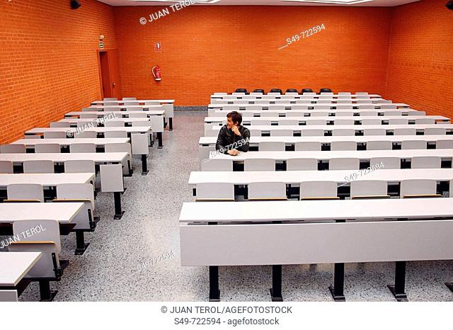 Overview of one of the classrooms at the University of Valencia. Spain