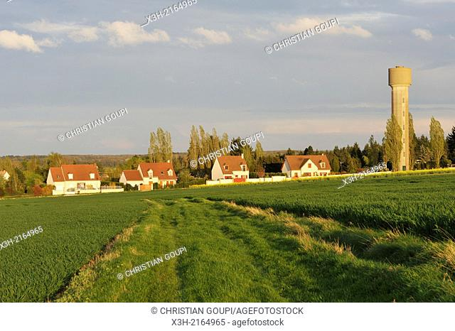 village in the middle of cereals fields, Eure-et-Loir department, Centre region, France, Europe