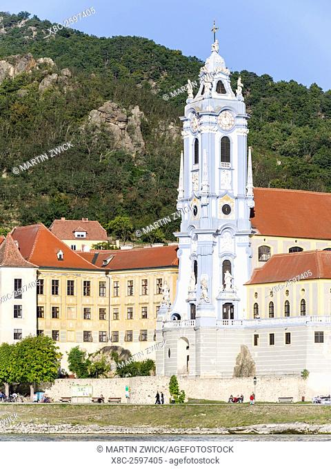 The collegiate church in Duernstein, an icon of the Wachau area. The Wachau is a famous vineyard and listed as Wachau Cultural Landscape as UNESCO World...