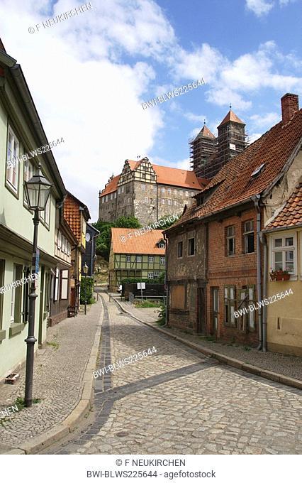 Quedlinburg Castle with Quedlinburg Abbey, Germany, Saxony-Anhalt, Harz, Quedlinburg