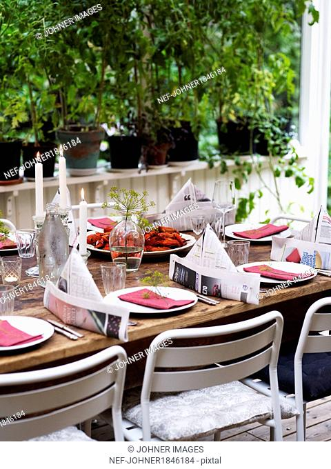 Table set for crayfish party