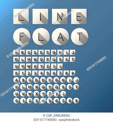 Flat Thin Line Font and Numbers