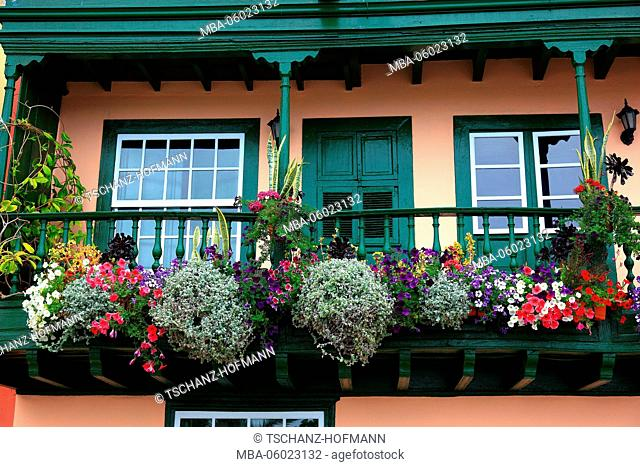 La Palma, Canary Island, typical balcony houses on the quayside in the town of Santa Cruz de la Palma