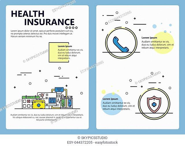 Health insurance company web banner, poster, flyer, leaflet, brochure template. Vector modern thin line art flat style design illustration
