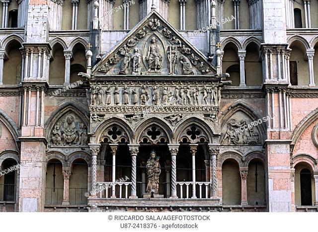 Italy, Emilia Romagna, Ferrara, San Giorgio Cathedral Duomo, the Loggia with a Madonna with Child