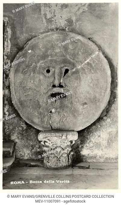The Mouth of Truth ('Bocca della Verita') - located in the portico of the church of Santa Maria in Cosmedin, Rome, Italy