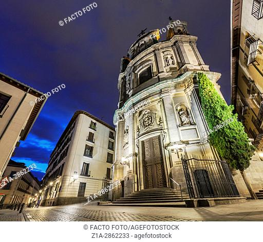San Miguel church by night. Madrid, Spain
