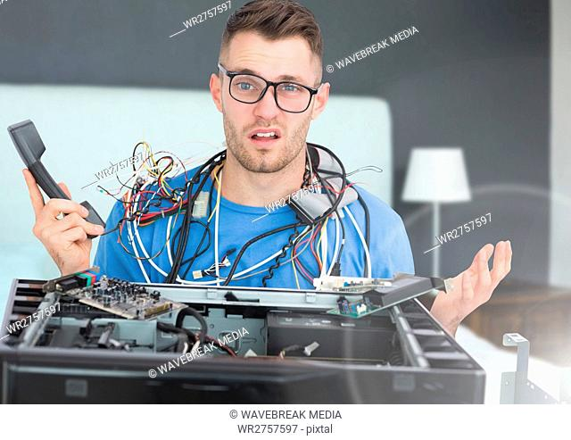 Stressed man with wires