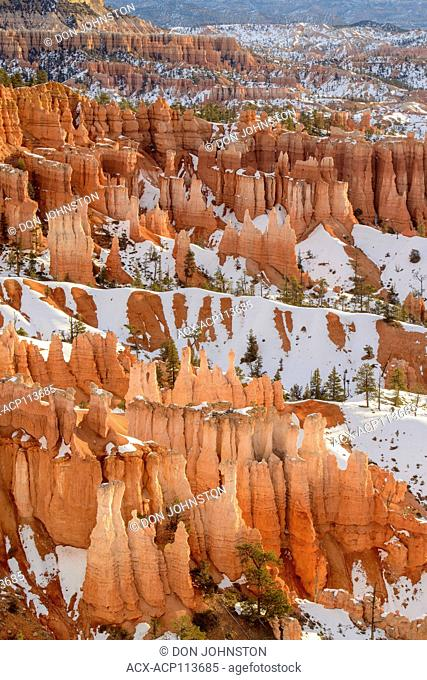 Hoodoos and winter snow from Inspiration Point, Bryce Canyon National Park, Utah, USA