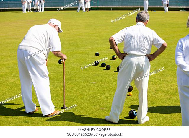 Old people playing bowls at Penzance in West Cornwall, UK
