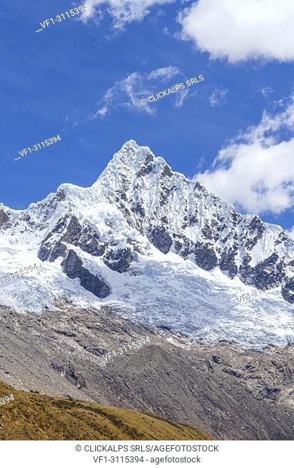 The summit of Alpamayo Nevado peak from base camp. Ancash, Cordigliera Blanca, Peru