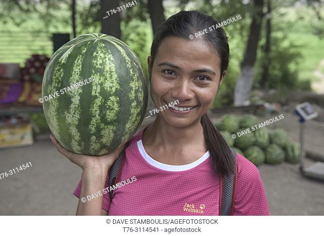 Giant watermelon by the roadside, Osh, Kygyzstan