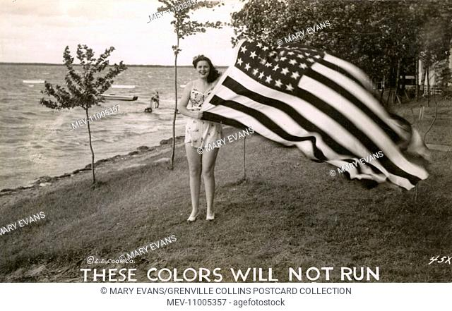 WW2 - American Patriotic Postcard - Woman holding Stars and Stripes Flag, with the caption: 'These Colors will not run'! She is likely standing on the shore of...