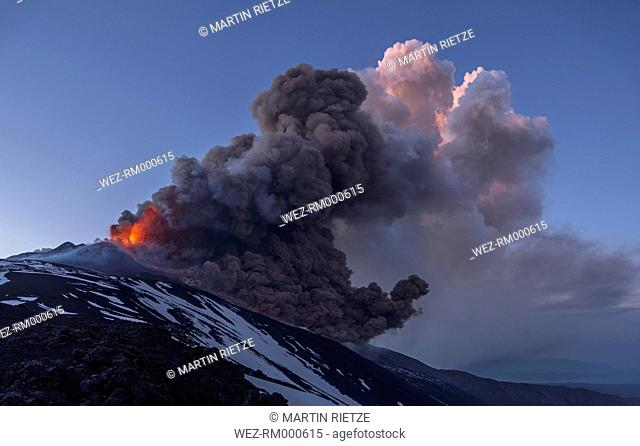 Italy, View of Lava erupting from Mount Etna