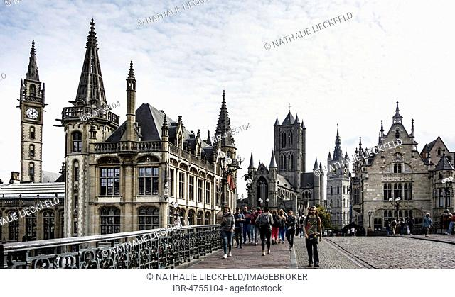 Old Post Office at the Graslei, Old Town, St. Michielsbrug, Ghent, Belgium