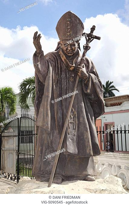 Statue of Pope John Paul II at the Cathedral of San Isidoro (La Catedral de San Isidro) in Holguin City, Cuba. - HOLGUIN, HOLGUIN PROVINCE, Cuba, 26/12/2014