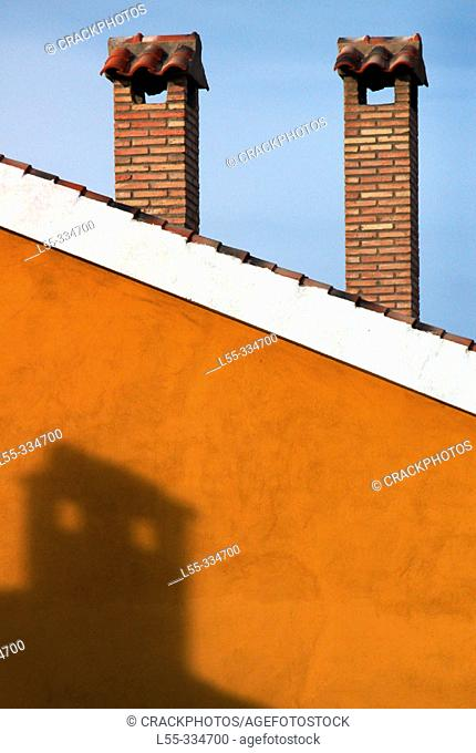 Roof with chimneys