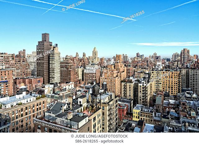 Looking towards the Northeast and the Upper East Side of Manhattan, New York City, over Apartments, Town Homes and Rooftops