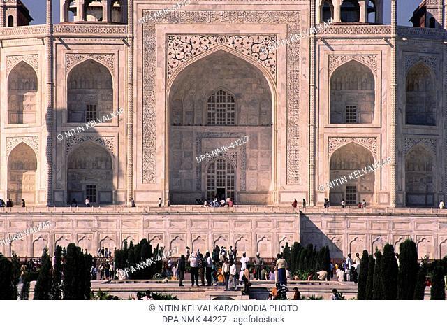 close ups of Taj mahal Seventh Wonder of The World ; Agra ; Uttar Pradesh ; India