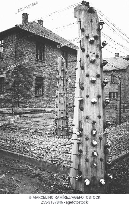 Auschwitz Nazi concentration and extermination camp. Electrified fences. Auschwitz, German-occupied, Poland, Europe