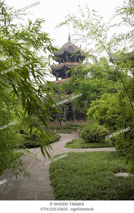 A lotus pond and Wangjiang Pagoda, Wangjiang Tower Park, Chengdu, Sichuan, China