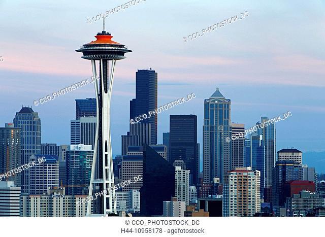 The Seattle skyline at sunset. Seattle, Washington. USA