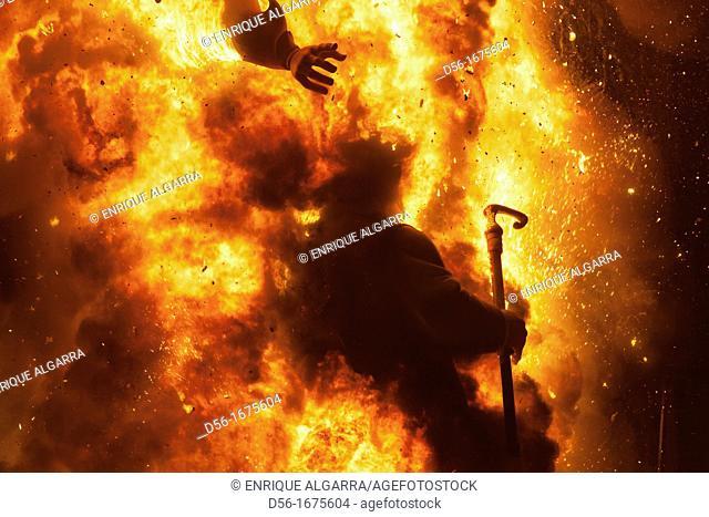 City Hall square, Burning a falla.  Fallas, festive bonfires on the night of St. Joseph. Valencia. Spain