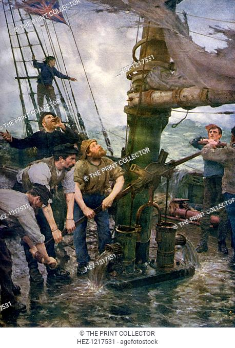 'All Hands to the Pumps', 1888-1889, (1912). A colour print from Famous Paintings, with an introduction by Gilbert Chesterton, Cassell and Company, (London
