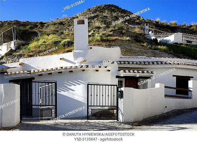 Traditional cavehouse in the city of Galera near Baza, unspoilt cave country in mountainous region of northern Andalusia