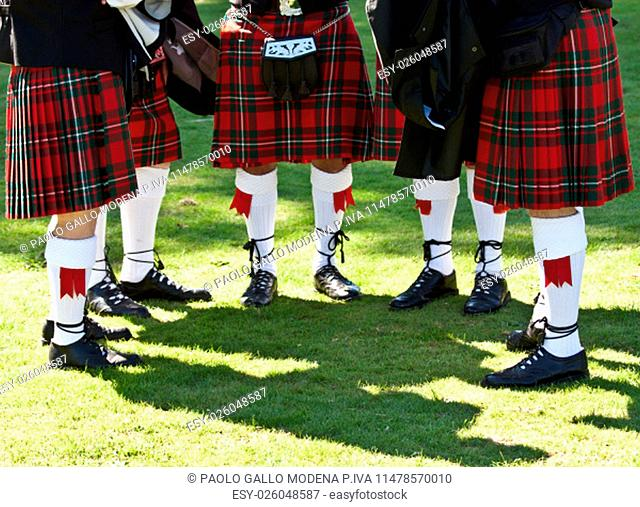 Detail of original Scottish kilts, during Highlands games