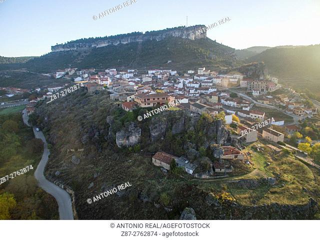 Aerial photography using a drone: Cañizares, Ruta del Mimbre, Serranía de Cuenca, Cuenca province, Castilla-La Mancha, Spain