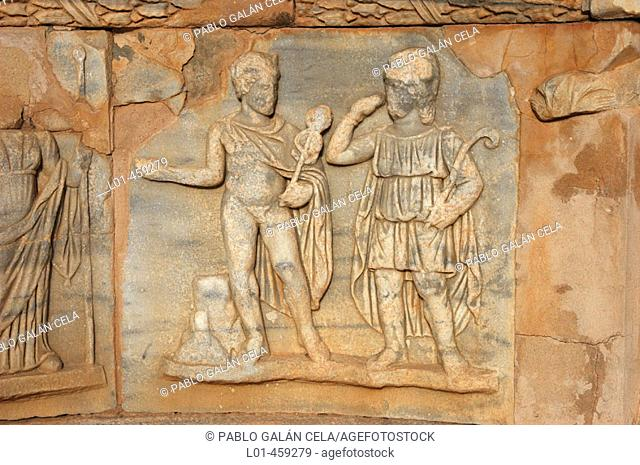 Relief at Roman theatre, ruins of the ancient city of Sabratha. Libya