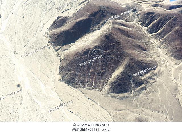 Peru, Nazca, Aerial view of geoglyphs of Nazca and Palpa, UNESCO World Heritage
