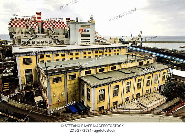 Enel power station in front of the Lighthouse - Genoa, Italy