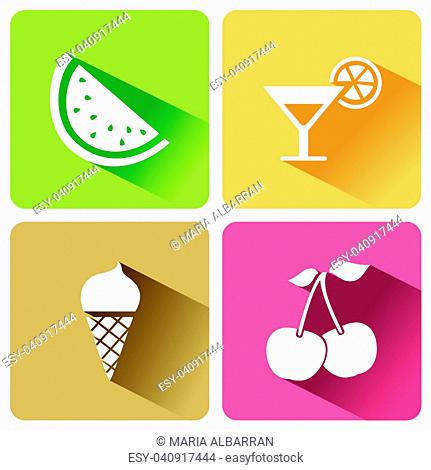 Summer food icons with shadow on a white background. Vector illustration