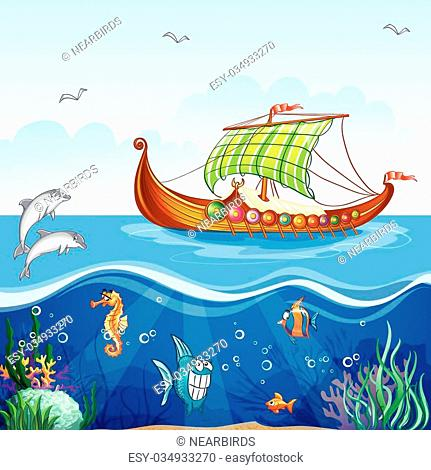 Cartoon image of the water world with merchant ships Viking S.VI
