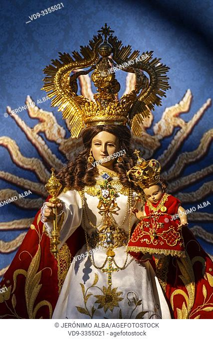 Image of the Blessed Virgin of the rock at hermitage Virge de la Peña, white village of Mijas. Malaga province Costa del Sol