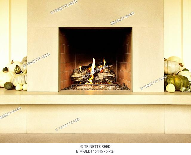 Fire burning in gas fireplace