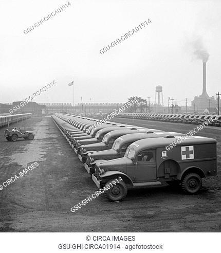 Rows of Army Ambulances, Chrysler Corporation Dodge Truck Plant, Detroit, Michigan, USA, Arthur S. Siegel for Office of War Information, August 1942